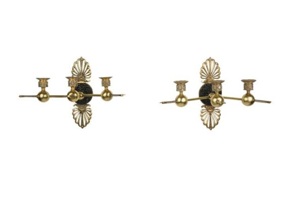 19th Century Pair of French Gilt Bronze Patinated Wall Lights