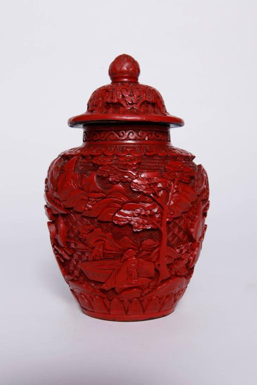 Pair of Chinese Cinnabar Covered Ginger Jars
