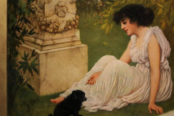 Oliver Rhys (England, 1876-1898), Lady with her Puppy in a Garden