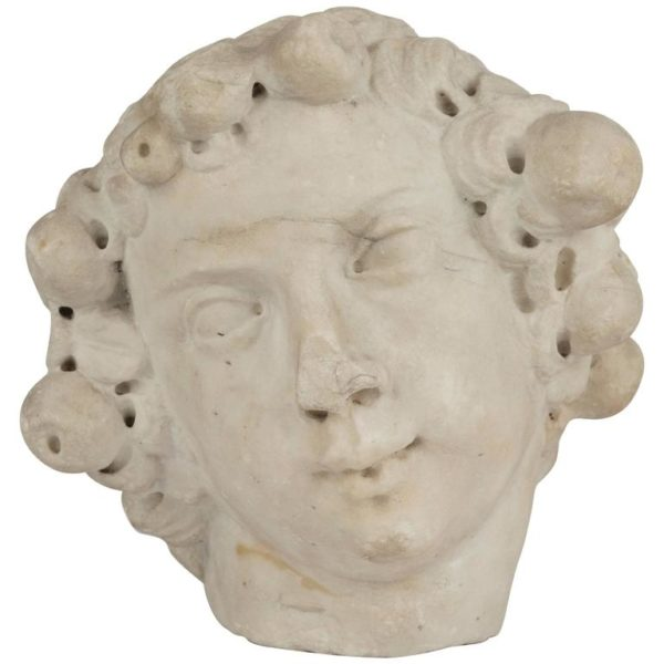 Italian White Marble Head of a Bacchic Figure