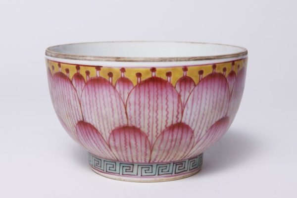 Pair of Chinese Porcelain Covered Lotus Bowls