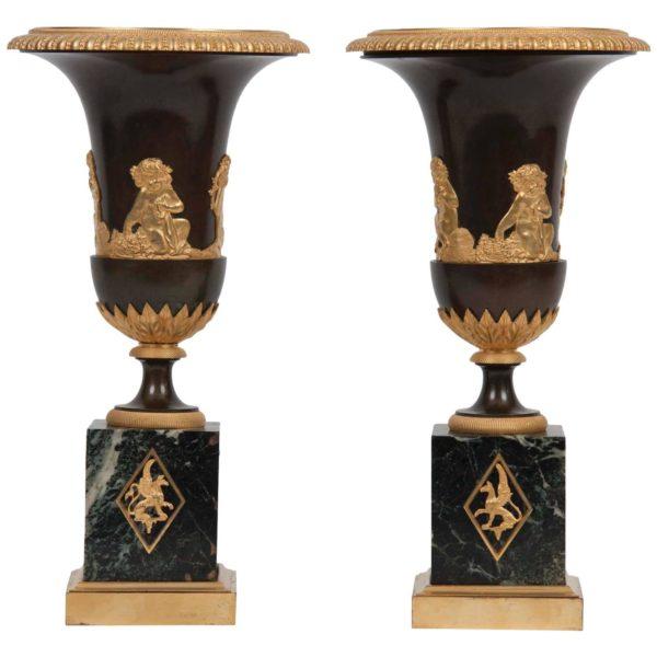 Pair of Directorie Gilt Bronze Mounted Urns