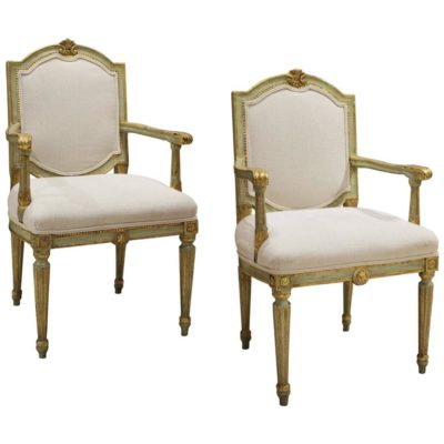 Pair of Venetian Lacquer Povera Armchairs