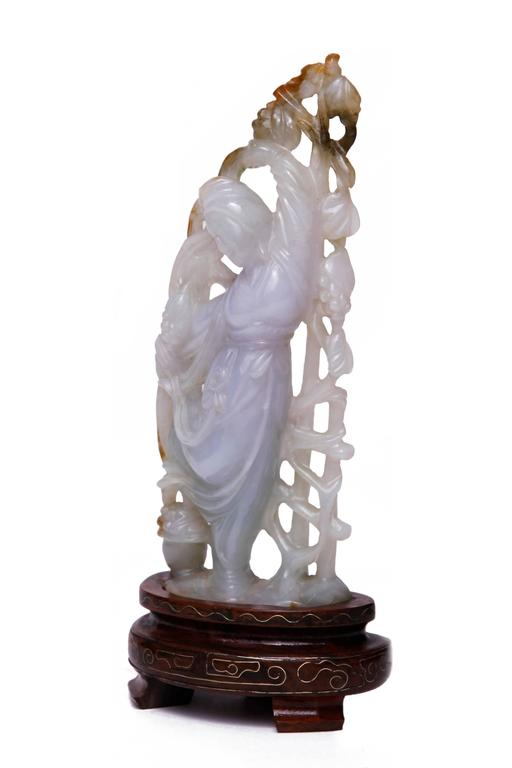 White Lavender Jade Carving of Guanyin