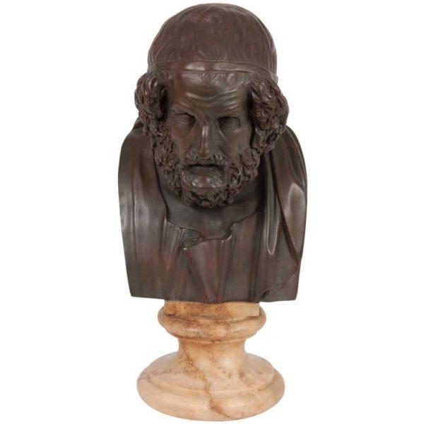 19th Century Bronze Bust of Homer