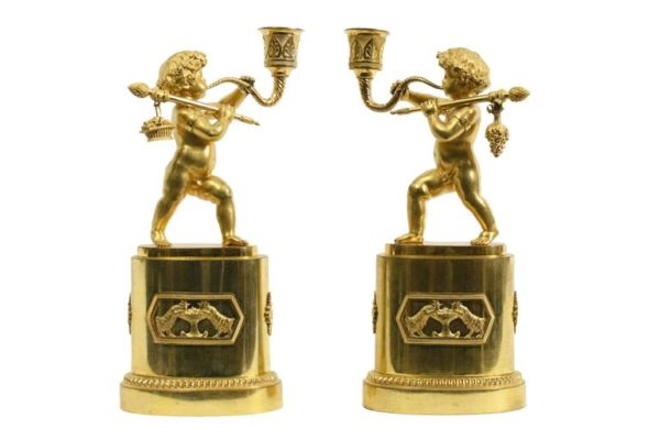 Pair of French Gilt Bronze Figural Candlesticks