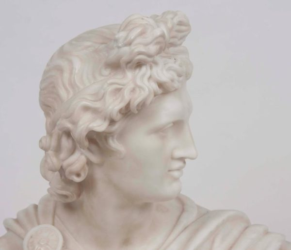 19th Century White Marble Bust of Apollo Belvedere