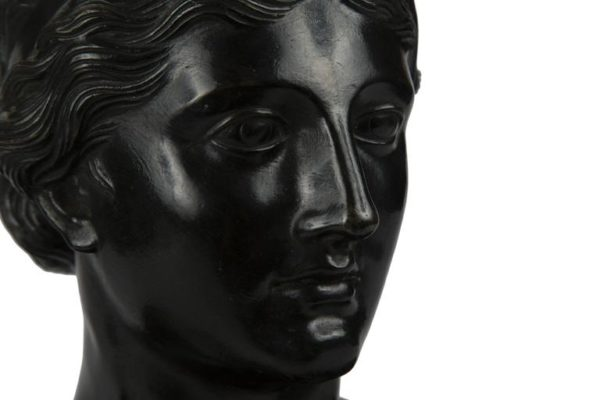 19th Century Patinated Bronze Portrait Bust of a Classical Woman