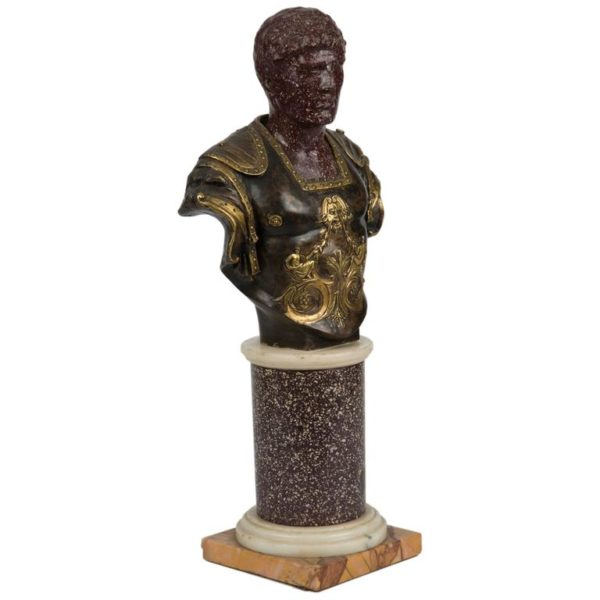 Carved Porphyry Bust of a Roman Emperor