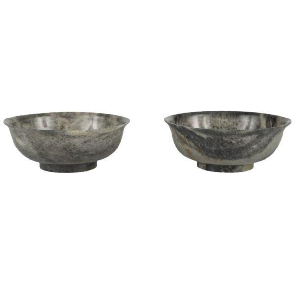 Pair of Carved Jade Bowls
