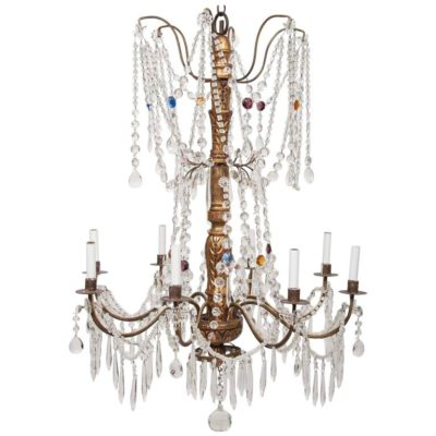 Italian Mid-18th Century Genovese Giltwood and Crystal Chandelier