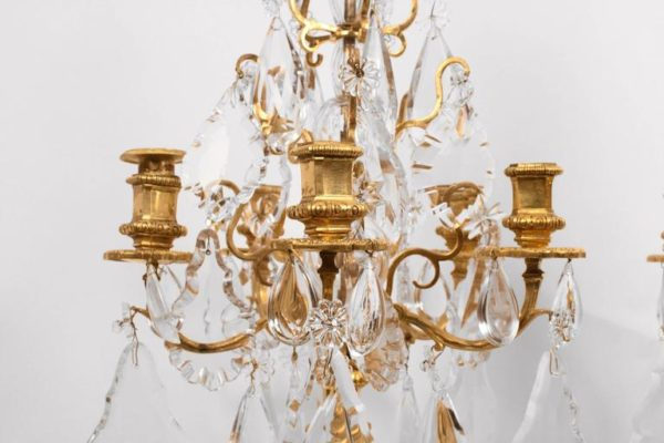 Pair of Gilt Bronze and Crystal Louis XVI Style Candelabra