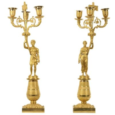 Early 19th Century Empire Figural Gilt Bronze Candelabra