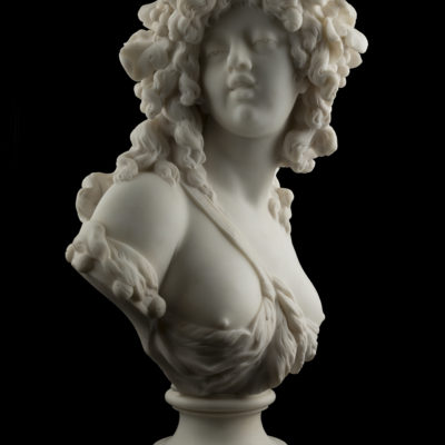 French 19th Century White Marble Sculpture of Bacchante