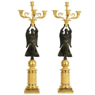 Pair of Empire Gilt Bronze Figural Winged Candelabra, 19th Century
