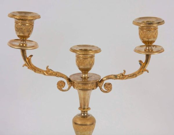 Pair of 19th Century French Gilt Bronze Candlesticks