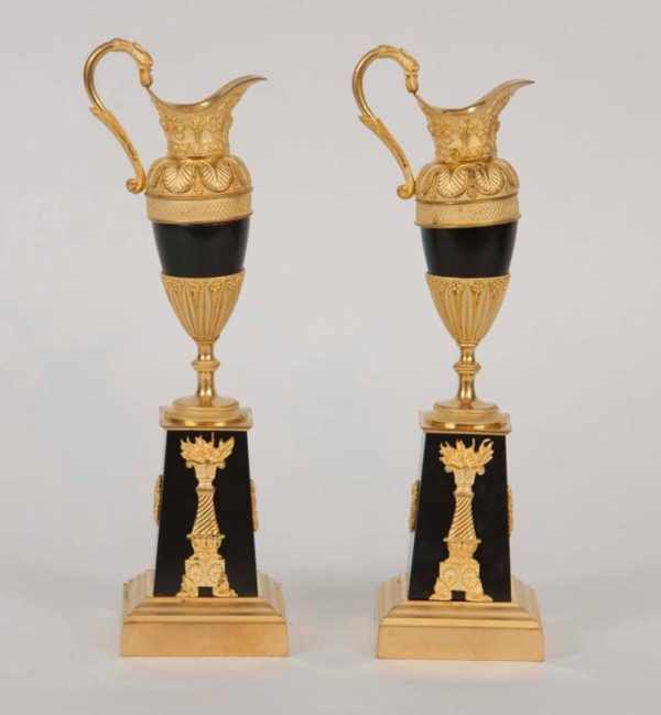 Pair of 19th Century French Neoclassical Patinated and Gilt Bronze Ewers