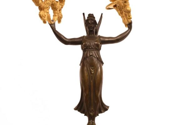 Pair of Early 19th Century Gilt Bronze Figural Candelabra