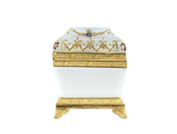 19th Century French Opaline Empire Gilt Bronze Mounted Box