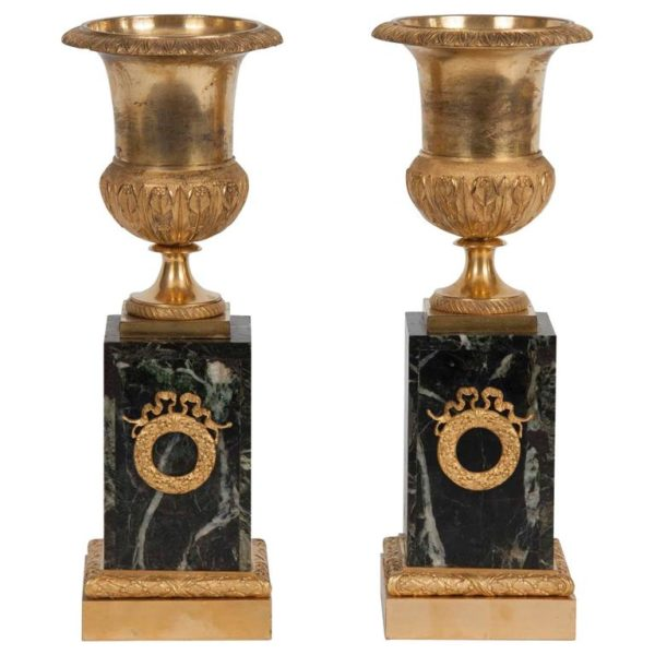 Pair of Empire Gilt Bronze Vases
