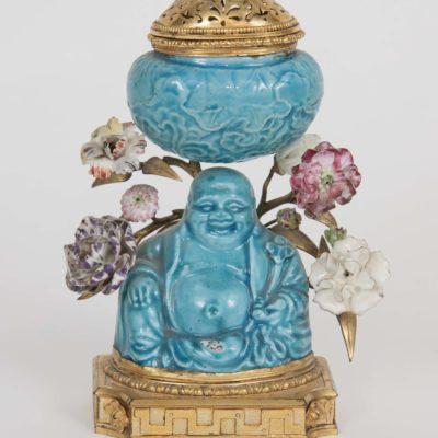 Chinese Gilt Bronze Ormolu Mounted Porcelain Pot-Pourri Vase