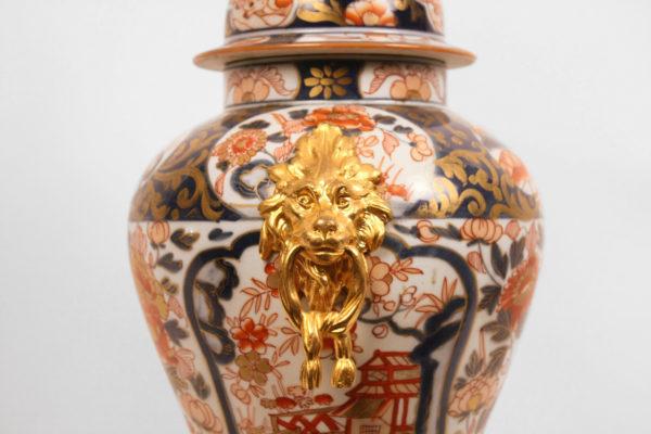 Pair of Gilt Bronze Ormolu-Mounted Imari Vases