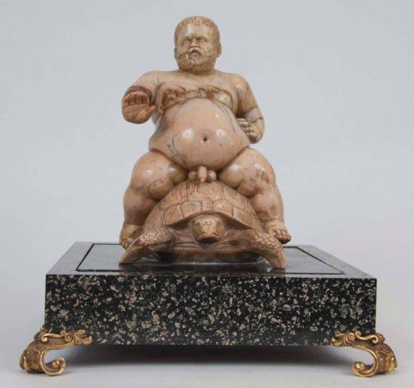 19th Century Italian Jaune de Siena Marble Group