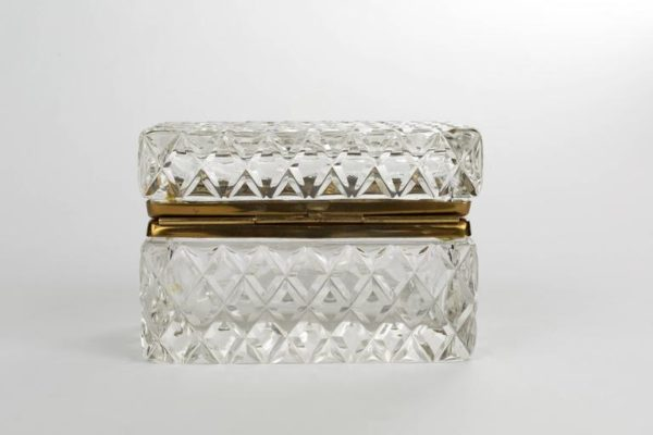 Cut Crystal and Bronze Jewelry Casket Box