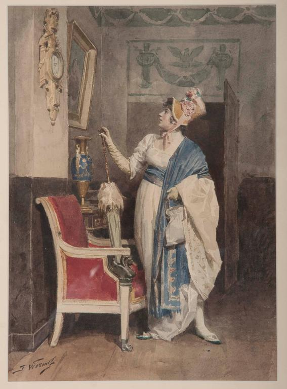 Lady Admiring a Painting by Jules Worms