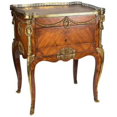 French Gilt-Bronze Mounted Mahogany Kingwood and Tulipwood Table Ecrire