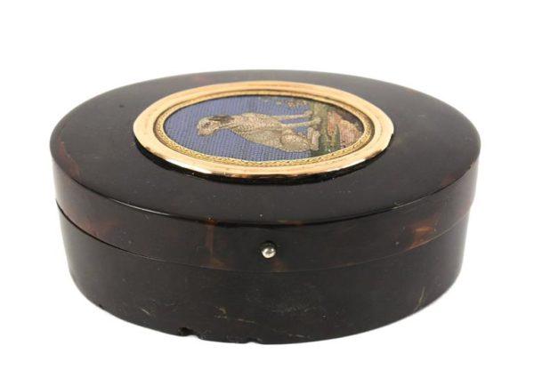 Italian Gold-Mounted Micromosaic Snuff Box