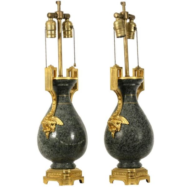 Pair of 19th Century Ormolu-Mounted Granite Vases