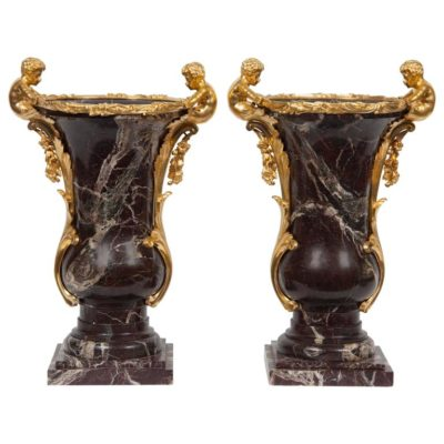 Pair of French Gilt Bronze Ormolu-Mounted Marble Vase