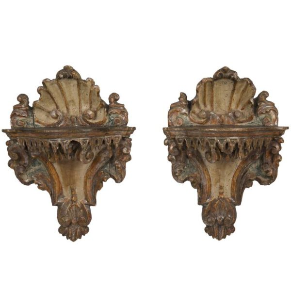 Pair of Venetian Rococo Mecca Lacquered Wall Brackets
