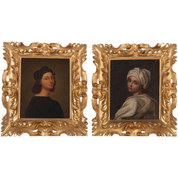 Pair of Grand Tour Portraits of Raffaello Sanzio & Beatrice Ceni