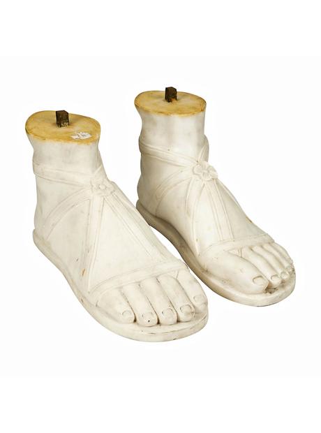 A Pair of Italian White Marble Feet, Roman Style
