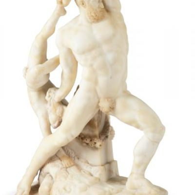 AN ITALIAN CARVED ALABASTER GROUP OF HERCULES AND LICHAS
