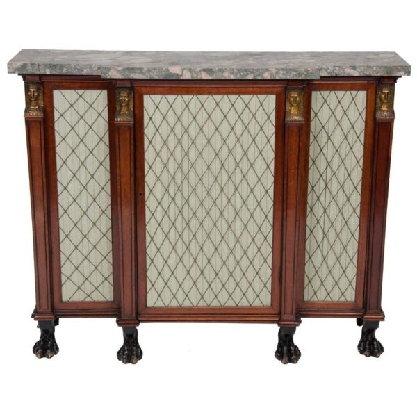 Fine Regency Gilt Bronze-Mounted Parcel Gilt Rosewood Side Cabinet