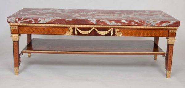 Caldwell Marquetry Ormolu Gilt Bronze Louis XVI Coffee Table