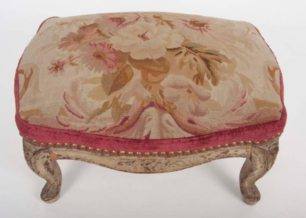 Pair of French 18th Century Aubusson Tapestry Footstools